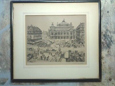 PARIS FRANCE 1927 Old Vintage Antique Etching Picture Drawing Painting Engraving