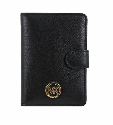 NWT MICHAEL KORS Fulton Black Leather Passport Case Wallet Holder Purse