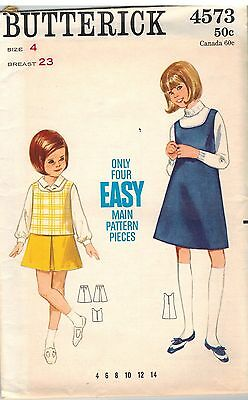 0a640702c2ac 4573 Vintage Butterick Sewing Pattern Girls A Line Jumper Top Skirt Play  Casual