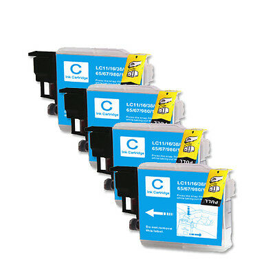 4 PK CYAN Ink Jet Replacement for LC61 Brother MFC 290C 295CN 490CW J410w