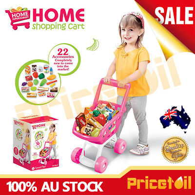 Pink Shopping Trolley Supermarket Kids Children Shopping Cart Pretend Play Toy