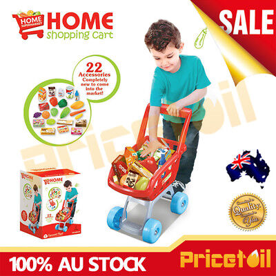 AU Red Shopping Trolley Supermarket Kids Children Shopping Cart Pretend Play Toy