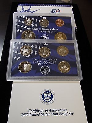 "2000 ""S"" US Mint Proof 10 Coin Set Box & COA  East Coast Coin & Collectables"