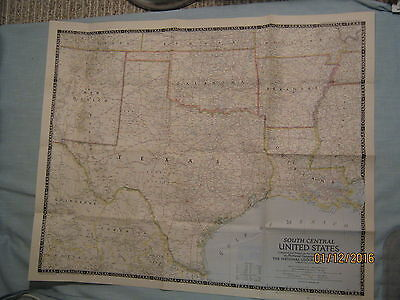 VINTAGE SOUTH CENTRAL UNITED STATES MAP National Geographic December ...