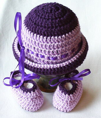 Crochet 0-3 Months Mixed Purples Baby Hat and Booties Set Photo Prop Mary Joe