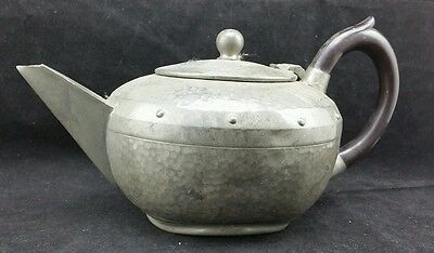 """Homeland Hand Beaten Arts & Crafts Hammered Pewter Tea Pot 10"""" Handle To Spout"""