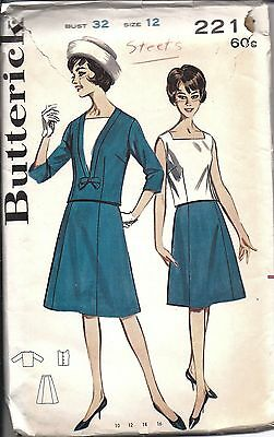 ^Butterick Vintage SEWING Pattern Misses 1960's Blouse Skirt Overblouse 2217 12