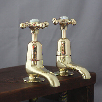 Pair Early 1900's Brass Basin Taps