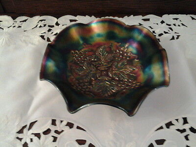 Carnival glass Northwood horehound/rootbeer grape leaves bowl.