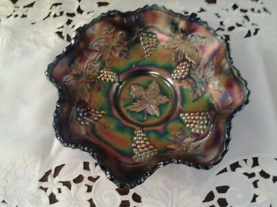 Fenton Vintage Carnival Glass Grape and Leaves large bowl