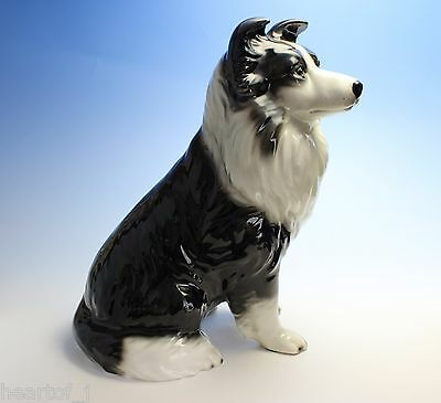"12""H Large Sitting Border Collie Black and White Porcelain Dog Statue Figurine"