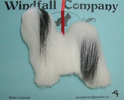Black and White Havanese Dog Plush Christmas Canine Ornament by WC # 4