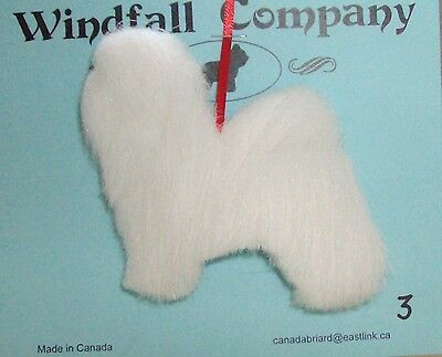 Pure White Havanese Dog Plush Christmas Canine Ornament # 3 by WC