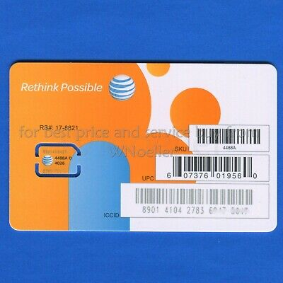 NEW Genuine AT&T Nano Sim Card • supports 4G LTE • Prepaid GoPhone or Contract