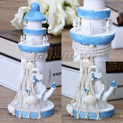 15cm Tall Wooden Lighthouse Maritime Ornament Home Nautical Beach Decoration