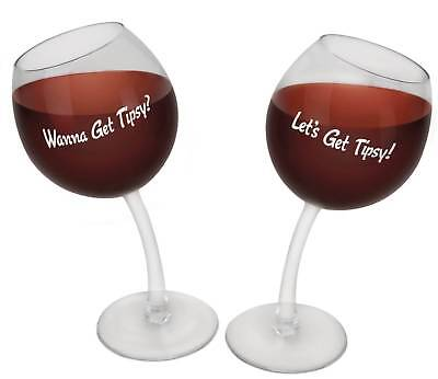 Big Mouth Toys Tipsy Wine Glasses - Set of 2