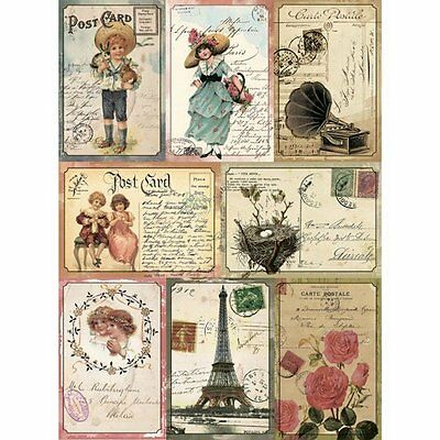 Rice paper for decoupage Vintage cards A3
