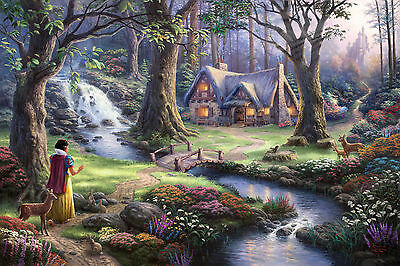 Thomas Kinkade Snow White Discovers WALL ART CANVAS FRAMED OR POSTER PRINT