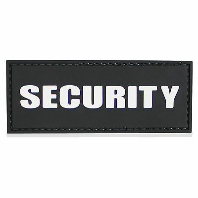 3D PVC Rubber Security Guard Cap Hat Shirt Velcro Backed ID Patch Badge Black