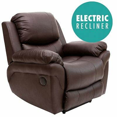 Madison Electric Brown Real Leather Auto Recliner Armchair Sofa Lounge Chair