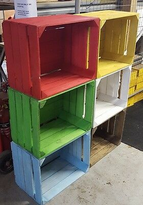 Multi Colours European Vintage Wooden Apple Crates Bushel Box Shabby Chic