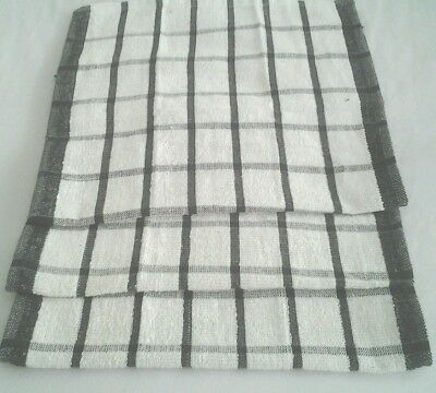 12  Large Tea Towels Black And White Checked Terry Towelling Extra Absorbant