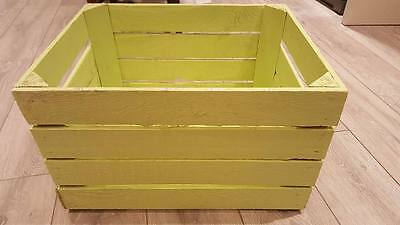 Lime Painted European Vintage Wooden Apple Crate  Box Shabby Cottage Chic