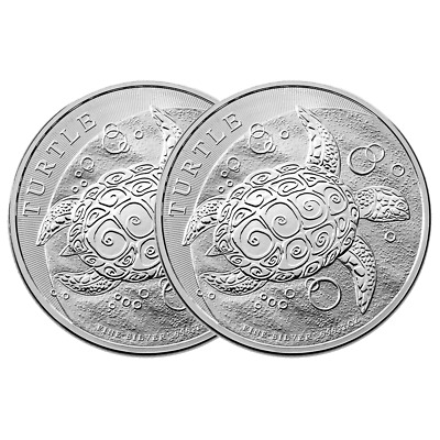 Lot of 2 - 2016 $5 Niue Hawksbill Turtle 2 Troy oz .999 Fine Silver BU