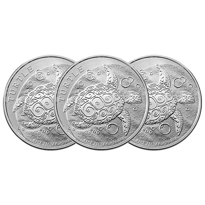 Lot of 3 - 2016 $5 Niue Hawksbill Turtle 2 Troy oz .999 Fine Silver BU