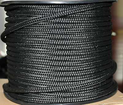 18mm x 100m Polyester Double Braided YACHT Rope ~Solid Black~Super STRONG