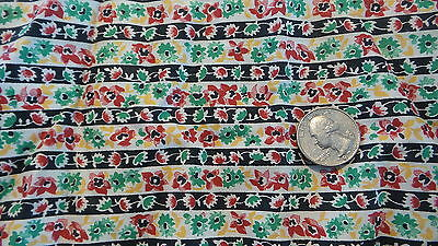 """Antique Fabric Piece FLORAL STRIPE Red, Green, Yellow, Black 22""""x22"""""""