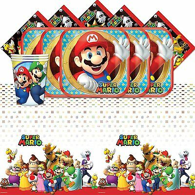 Super Mario Bros Childrens Birthday Party Tableware Pack Kit For 8