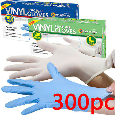 300 Powder Free / Powdered Vinyl Blue Disposable Gloves Multi Work Food Clear
