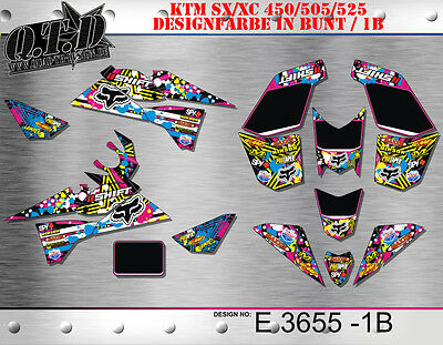 Motostyle-Mx Dekor Kit Für Atv Ktm 450 505 525 Sx Xc Graphic Kit E3655 B