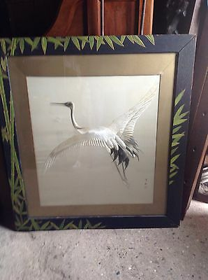 Wonderful Large Crane japanese needlework Japan Silk Carved Frame Kabayahi Koba