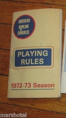 American Bowling Congress Playing Rules Booklet 1972-1973 Season Book
