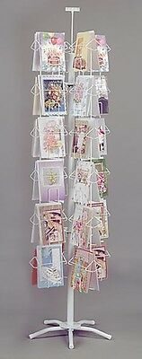 """Greeting Card Rack Spinner Retail Display 48 Pockets 6""""W x 9""""H Sign White NEW"""