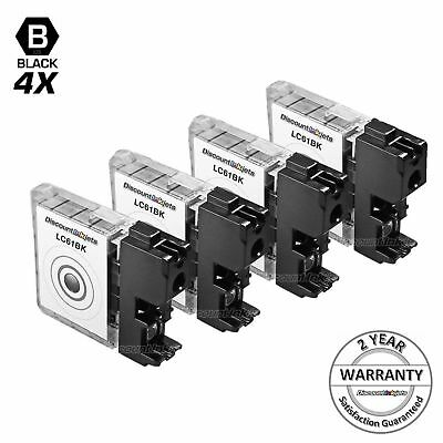 New 4 Pack LC61 LC61BK Black Printer Ink Cartridge for Brother MFC-J615W
