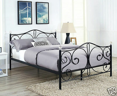 *** 4ft6 Double Bed - Black or White Luxury Metal Bed with Crystal Finials ***