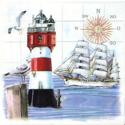 4x Paper Napkins - Lighthouse and Compass - for Decoupage Decopatch Craft