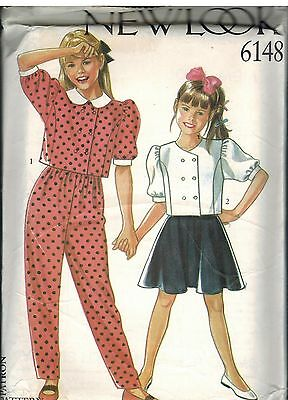 6148 UNCUT New Look Sewing Pattern Girls Top Skirt Pants Trousers 4 - 12 School