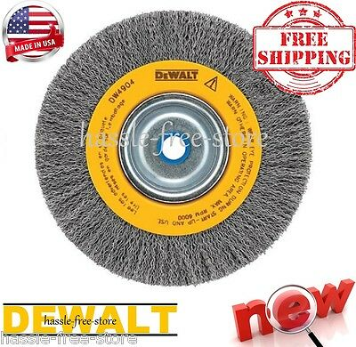 DEWALT Wire Abrasive Brush Buffing Wheel Crimped Bench Grinder 8-Inch Deburring