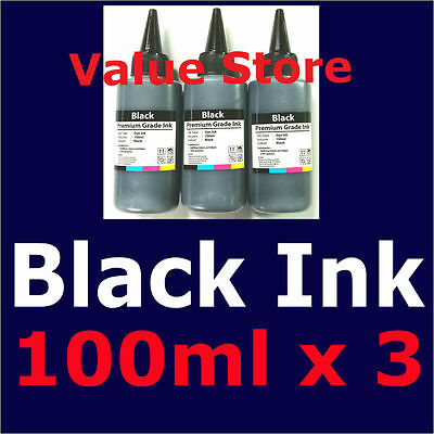 3x 100ml Black Dye Ink for Canon refills PGI-670 PGI-670XL Pixma MG-5760 MG-6860