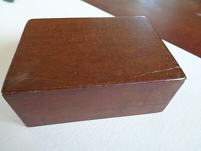 "RED WOOD TRINKET BOX - 4  X 2 1/2 ""      1950's"