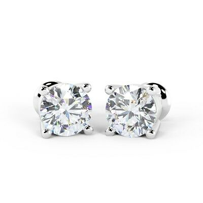""""""" Special Offer """" RRP £4500 1.00Ct Round Diamond Stud Earrings in 18k White Gold"""