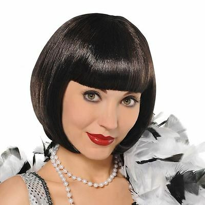 New 20s Short Black Bob Charleston Flapper Gatsby Fancy Dress Costume Fringe Wig