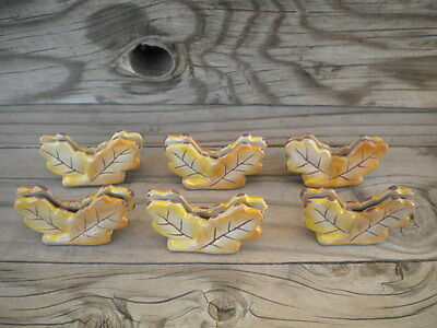 LOT OF (6) SIX FALL OAK LEAF table NAME PLACE CARD HOLDERS glazed rare VINTAGE