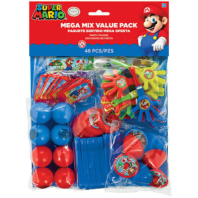 48 Piece Super Mario Bros Gaming Birthday Party Favor Mega Mix Value Pack