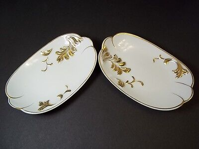Set of 2 vintage china white & gold pin dishes 5x3