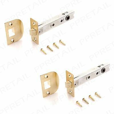 2 x Brass 110mm Mortice Tubular Latch -EXTRA LONG-  Interior Door Handle Catch